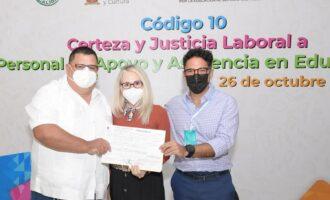 Brinda SEPyC certeza y justicia laboral a mil 873 empleados para que obtengan su base