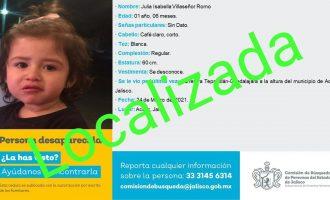 La bebé que estaba con familia desaparecida en Acatic, es localizada con vida